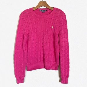 Ralph Lauren   Pink Cable Knit Pullover Size M